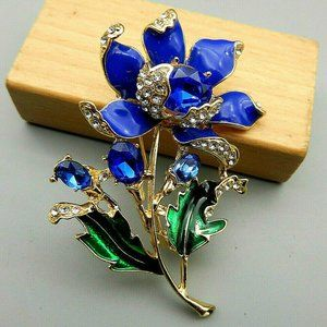 Gorgeous Blue Sun FLOWER Rhinestone JEWEL Brooch